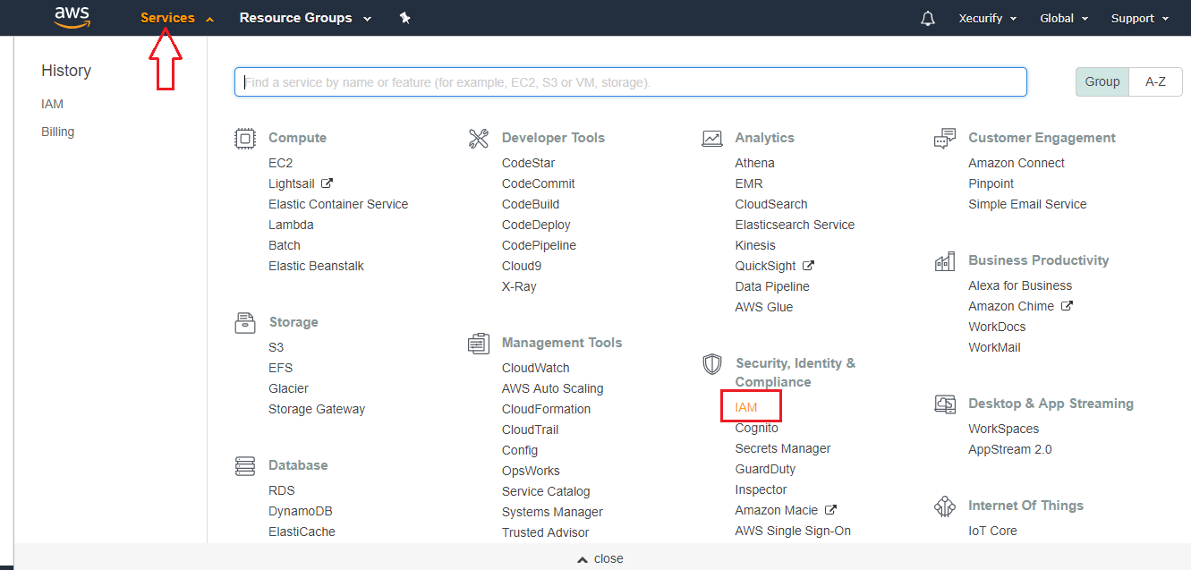 aws appstream sso click on services tab