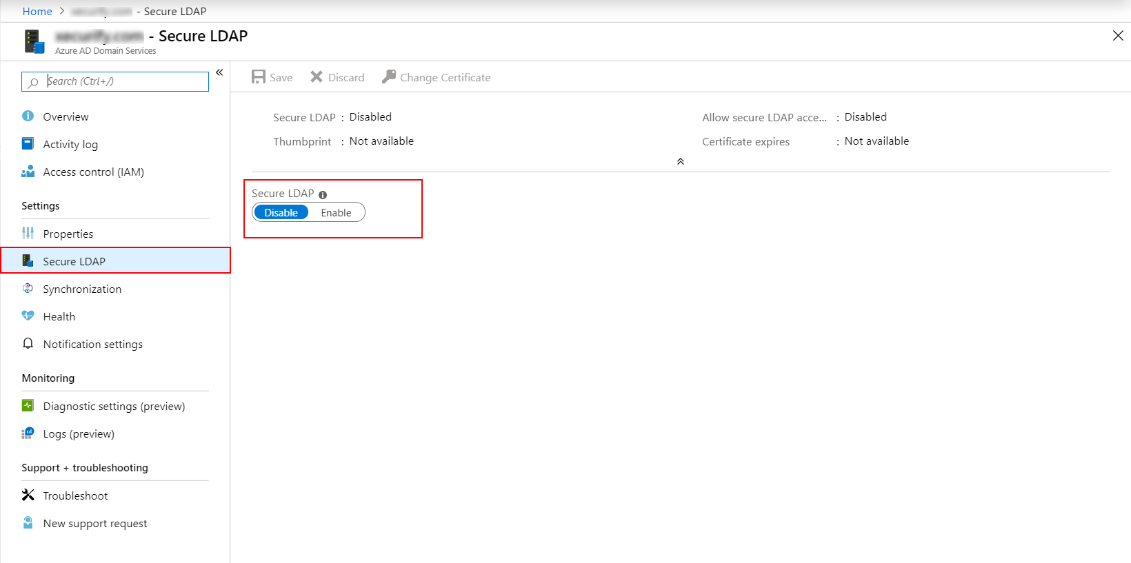 Azure AD Secure Ldap Settings