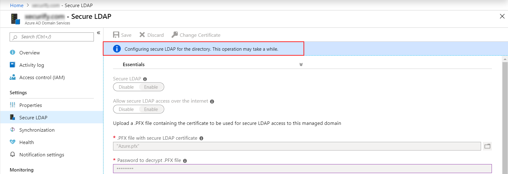 Azure AD Secure Ldap configured for the managed domain