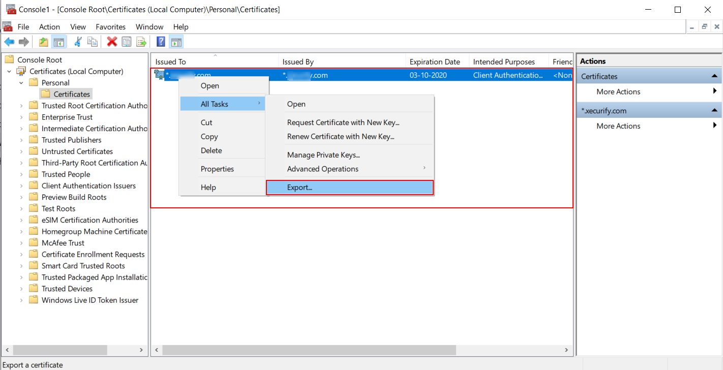 Export Windows Certificate for azure AD LDAP Configuration
