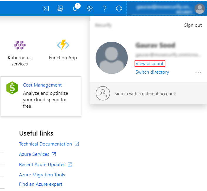 Azure AD DS View Account