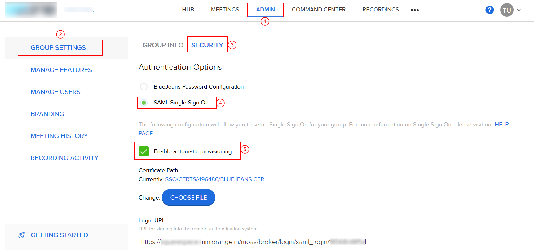 BlueJeans two factor authentication (2FA) configuration
