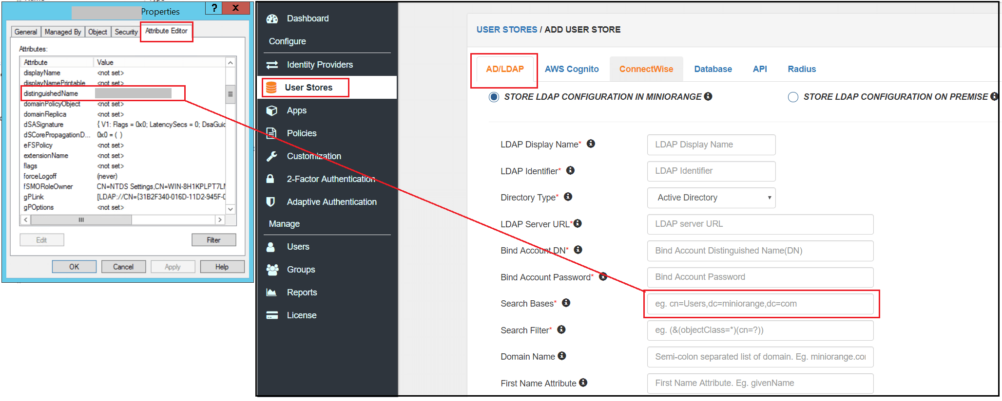 Single Sign On (sso) configure user search base