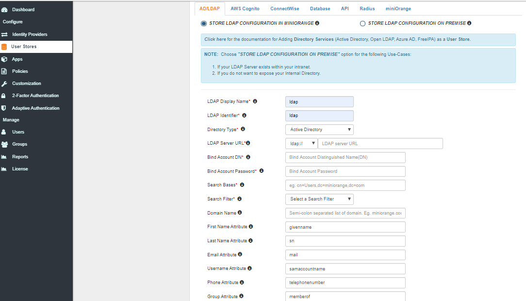 Single Sign On (sso) select ad/ldap user store type