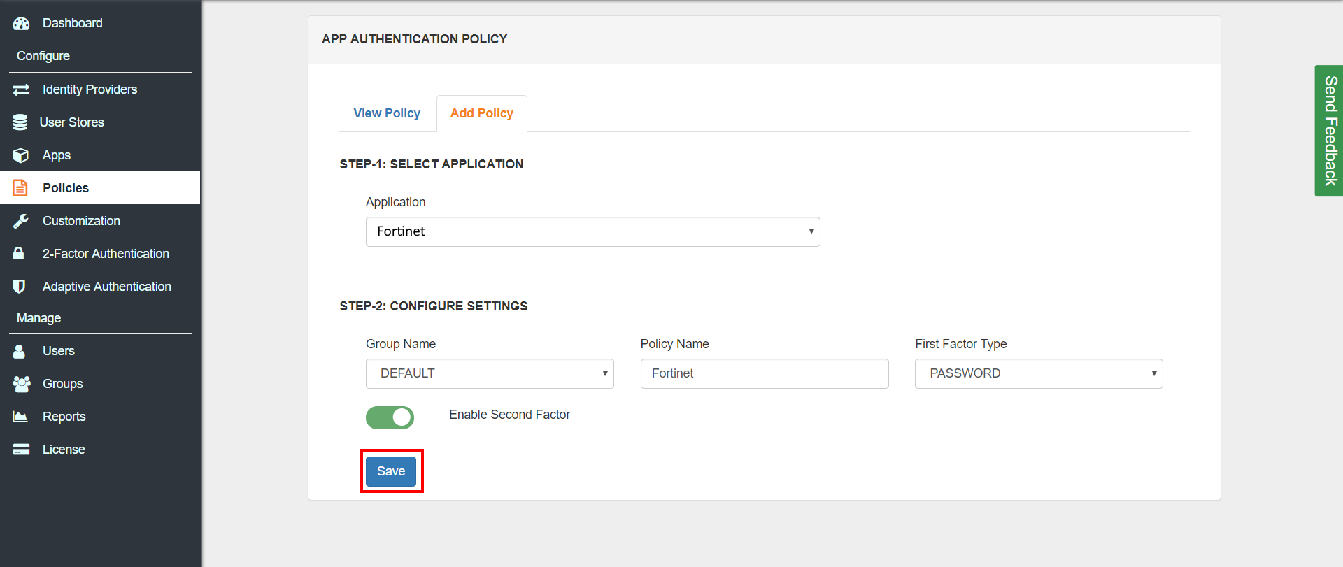 2FA two factor authentication for AWS VPN Client  App Add Policy