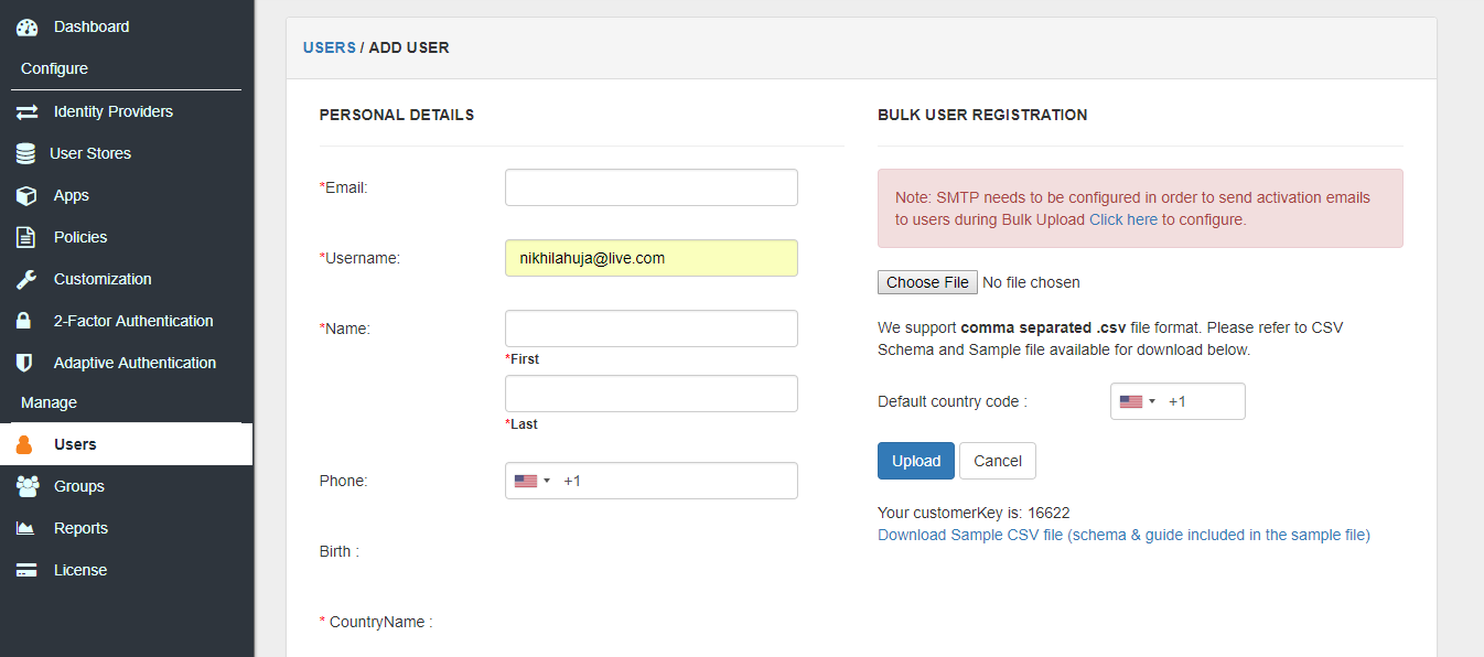 Bulk User Registration