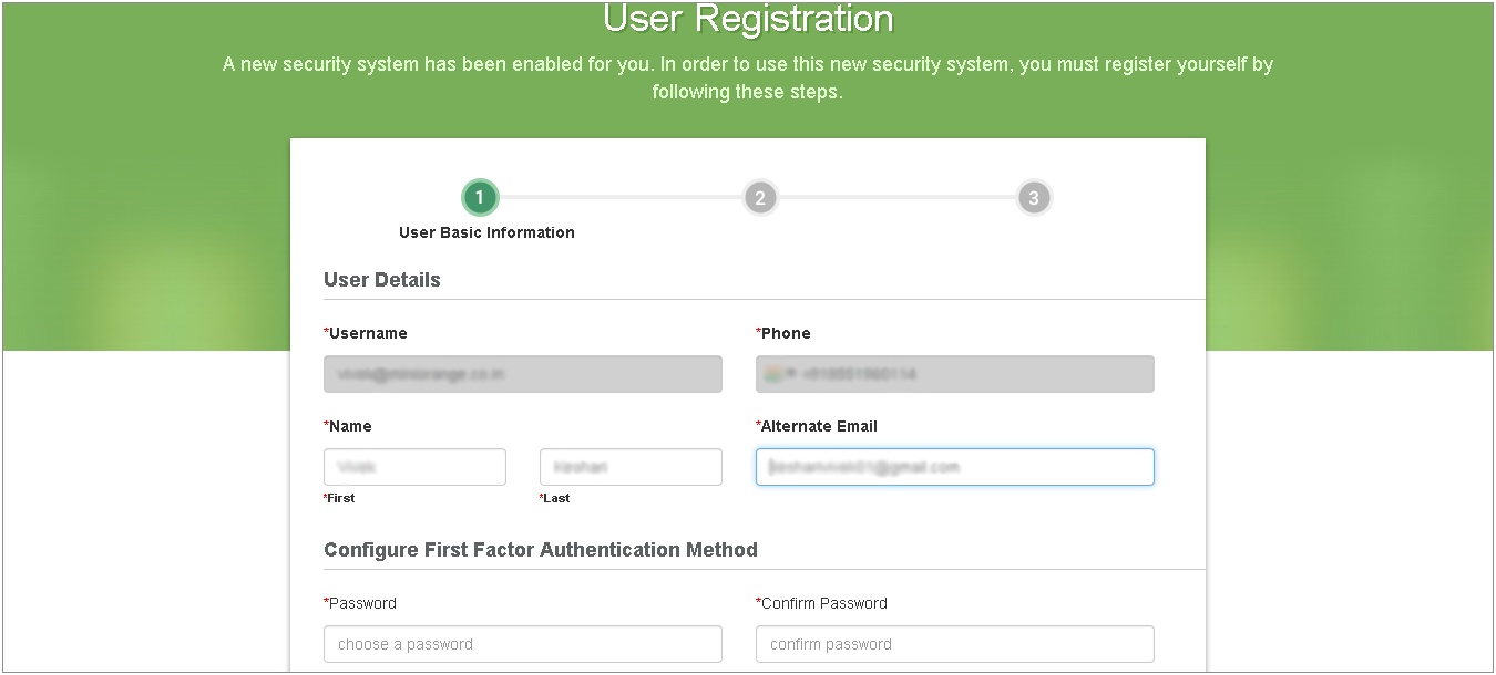 Basic Details for User Registration
