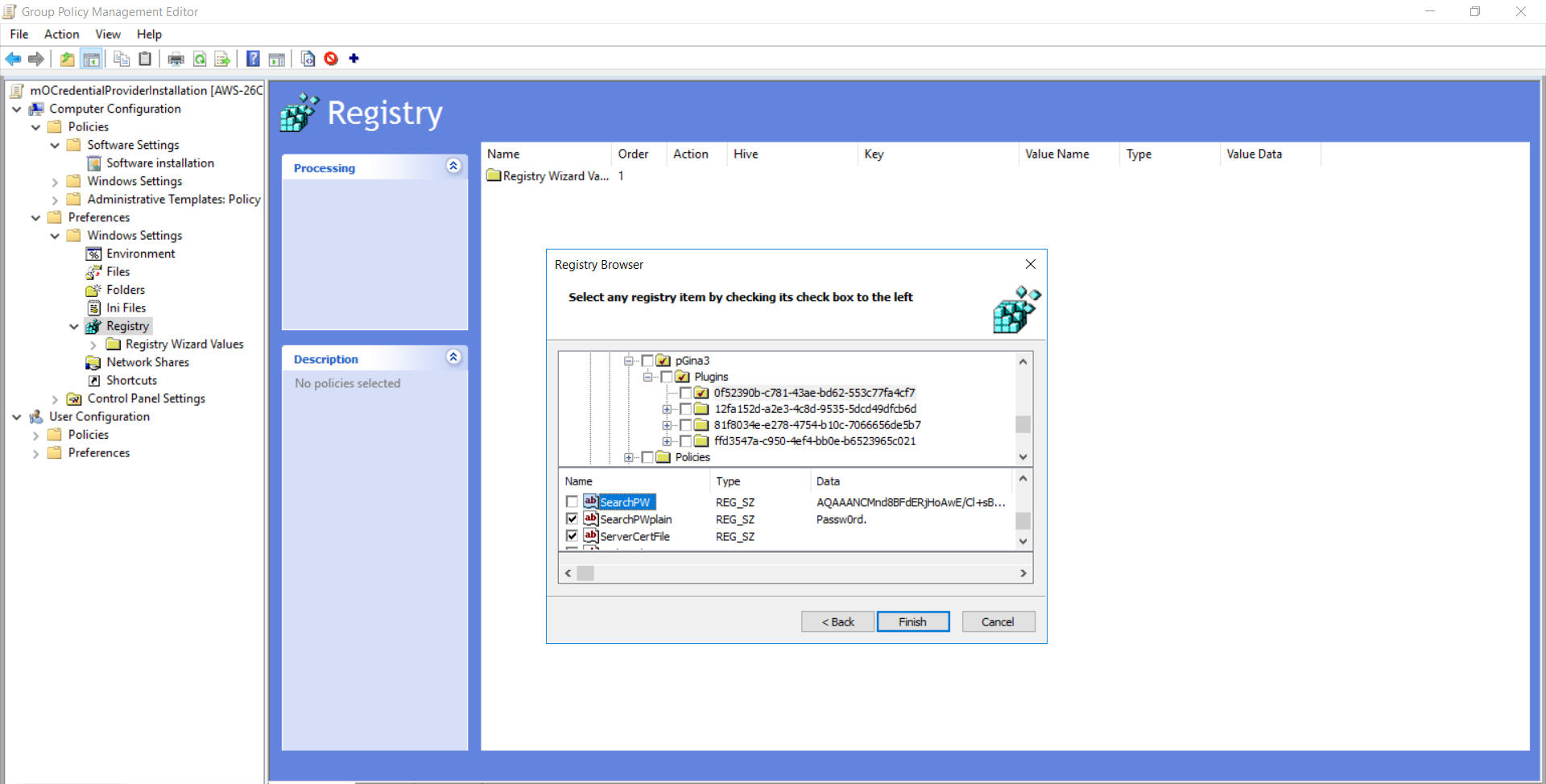 windows credential provider group policy search