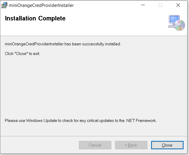 windows credential provider install complete