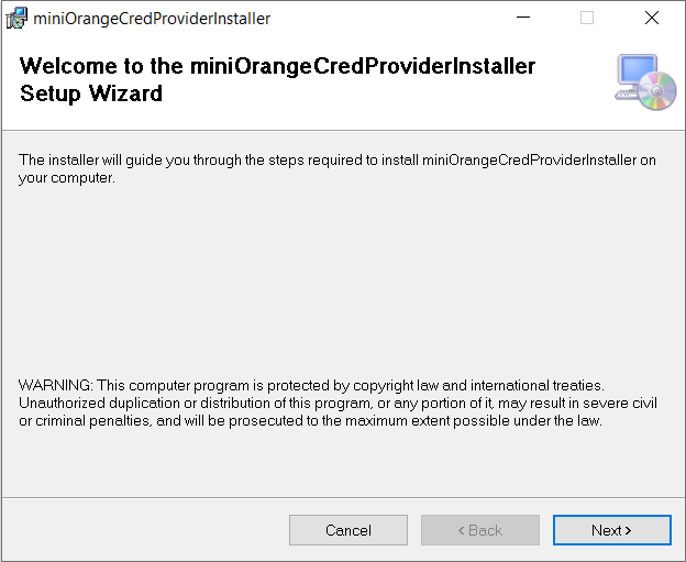 windows credential provider instal wizard
