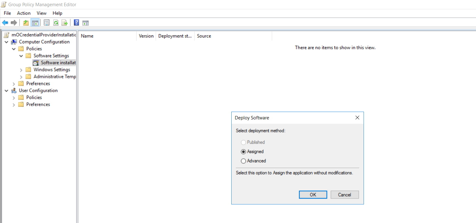 windows credential provider group policy assigned