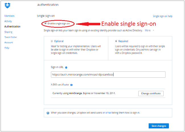 enabling Dropbox Single Sign-On