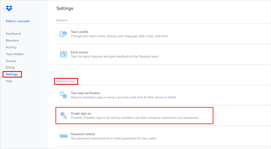 Dropbox Single Sign On (sso) select authentication