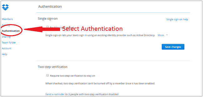 dropbox sso select authentication