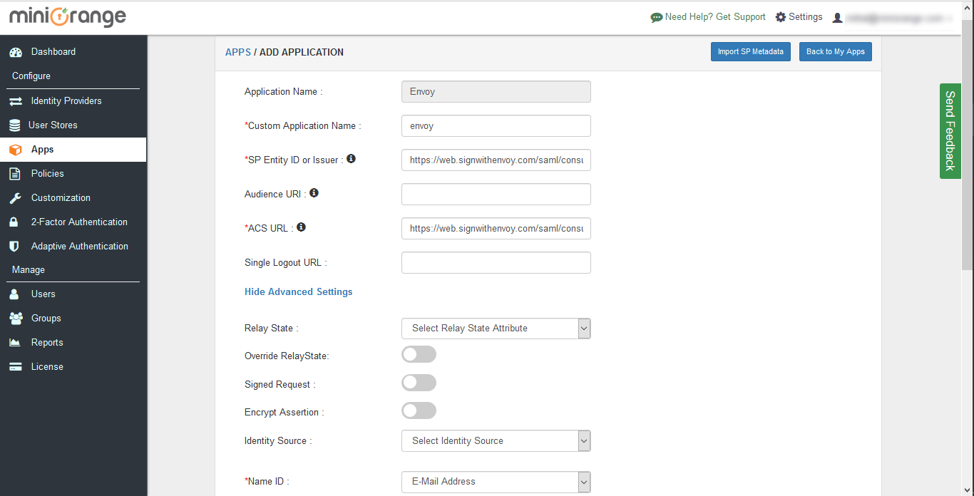 Envoy Single Sign On (sso) configuration steps