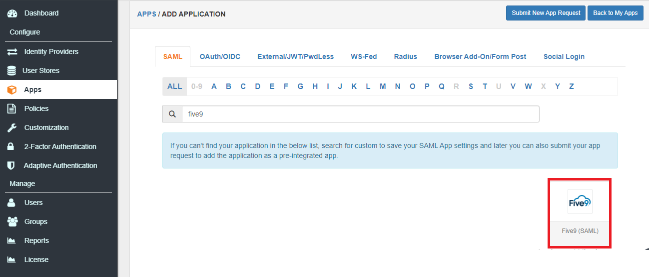 Single Sign On (sso) add Five9 apps