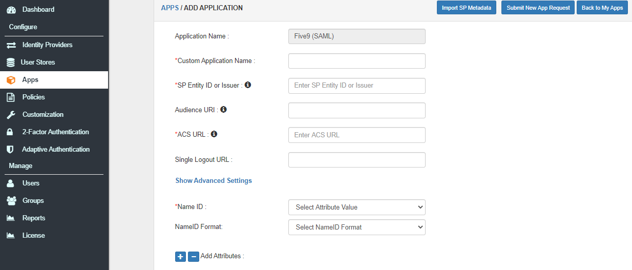 Single Sign On (sso) configure Five9 apps