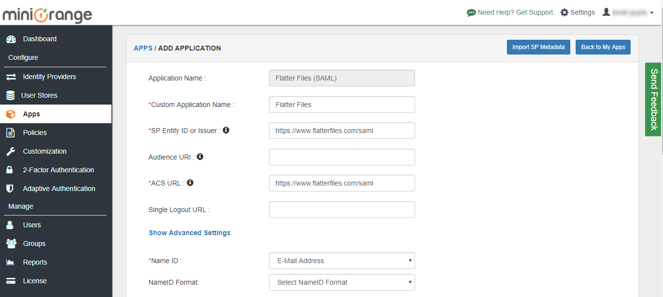 flatterfiles sso configuration steps