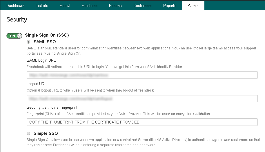 freshdesk sso configuration