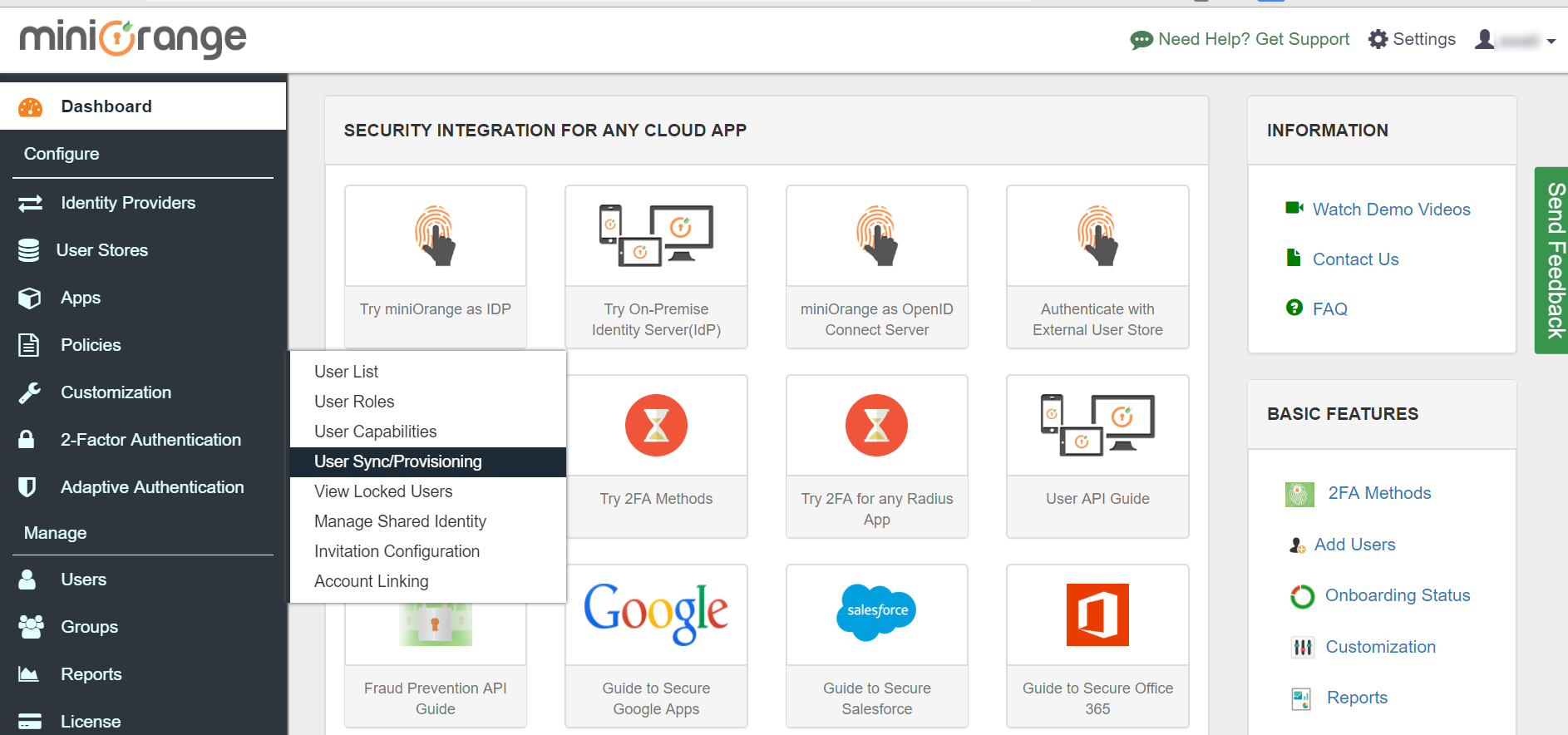 Google Apps directory integration Dashboard