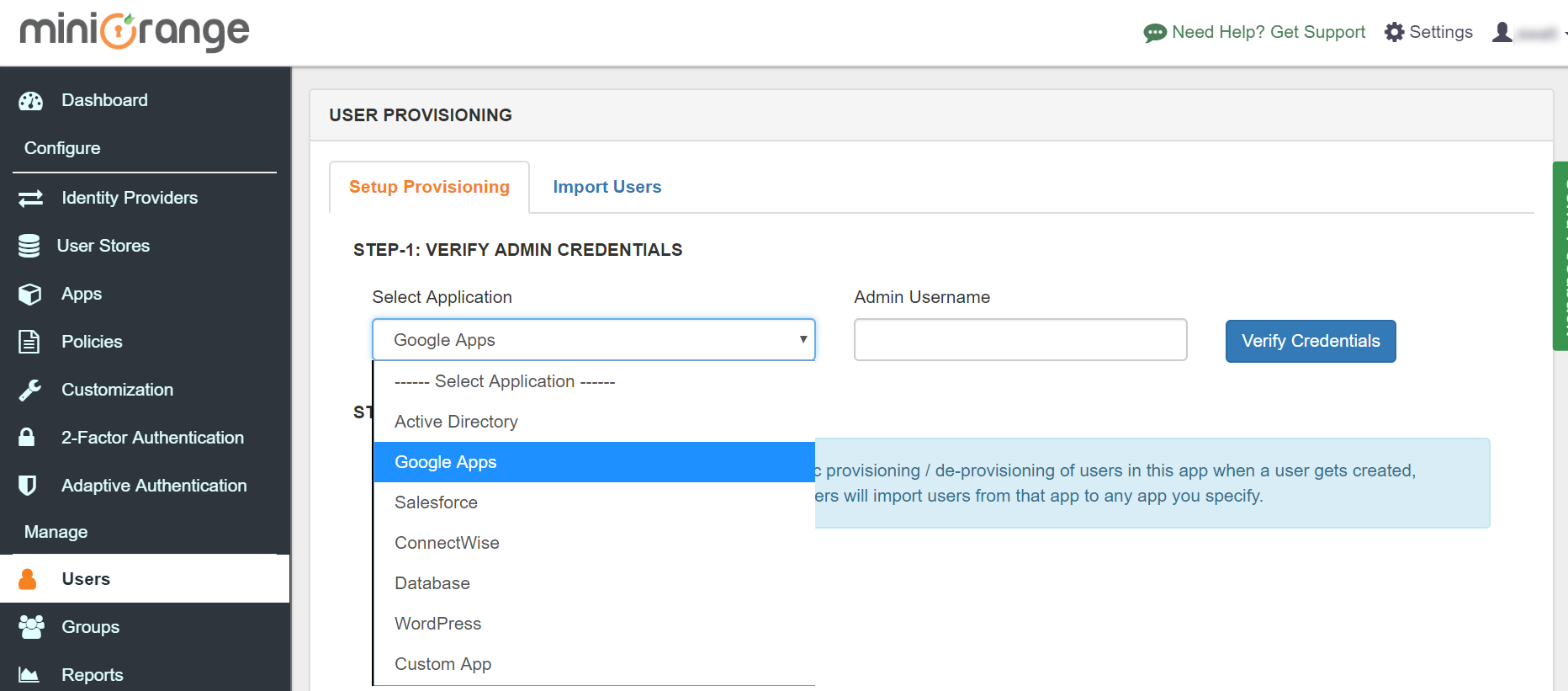 Google Apps directory integration  Setup Users
