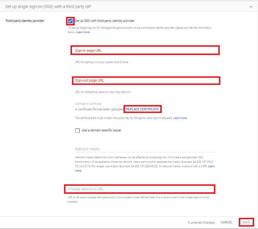 Google Apps Single Sign On (sso) enable third party sso