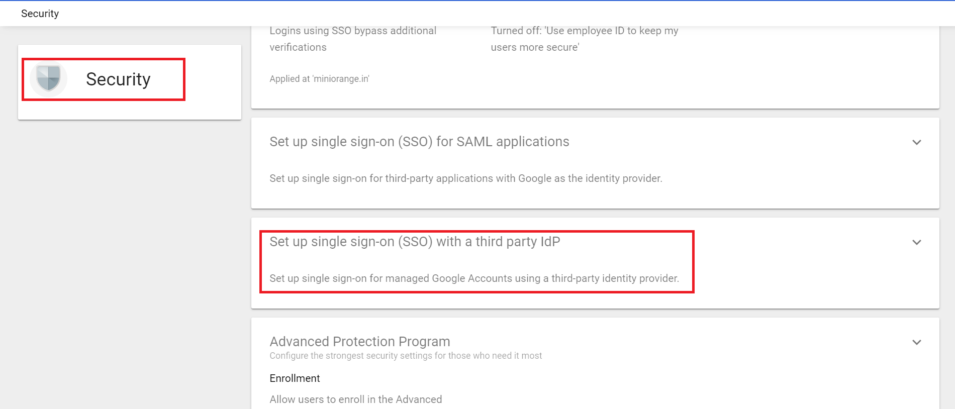Google Apps Single Sign On (sso) admin console set sso idp