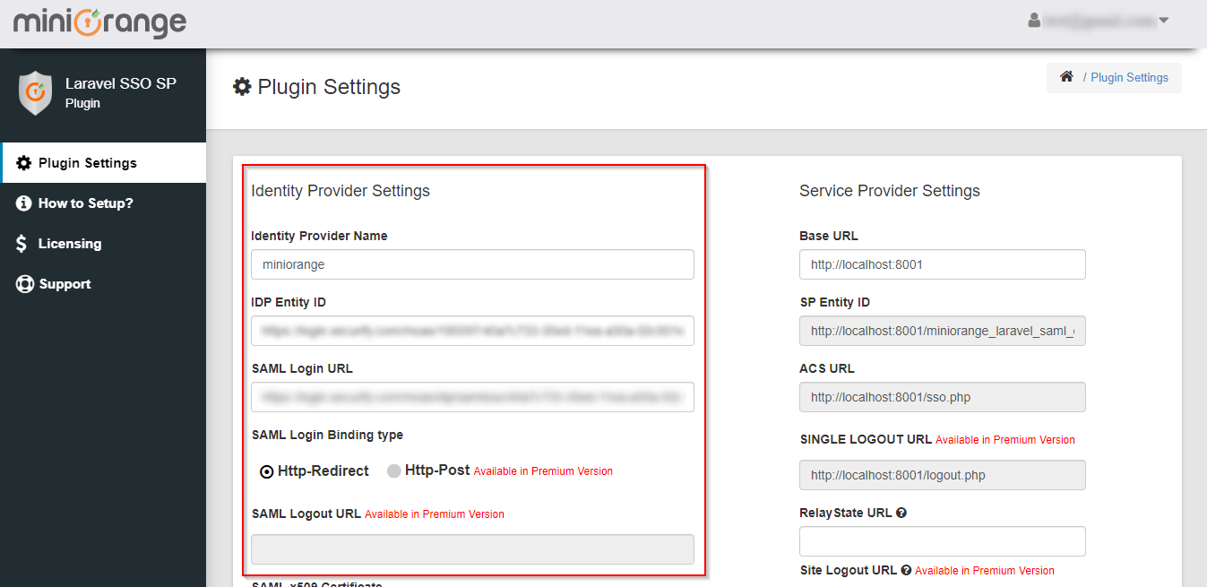 Laravel Single Sign On SSO Identity Provider Settings