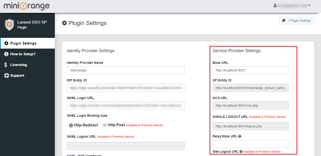 Laravel Single Sign On SSO Service Provider Settings