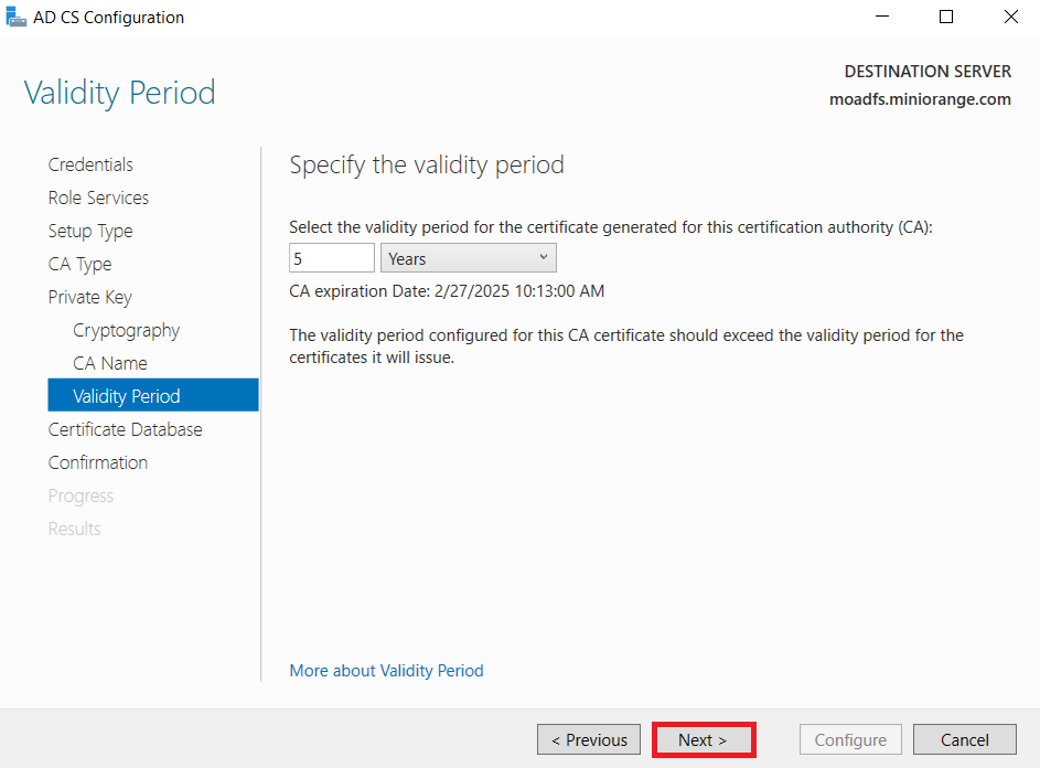 LDAPS on Windows Server enter certificate validity