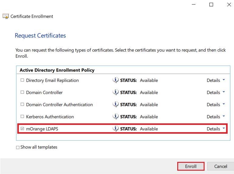 ldaps enroll certificate server windows