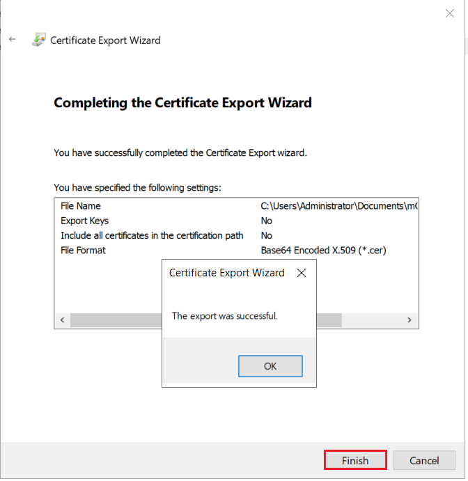LDAPS on Windows Server export certificate successfully