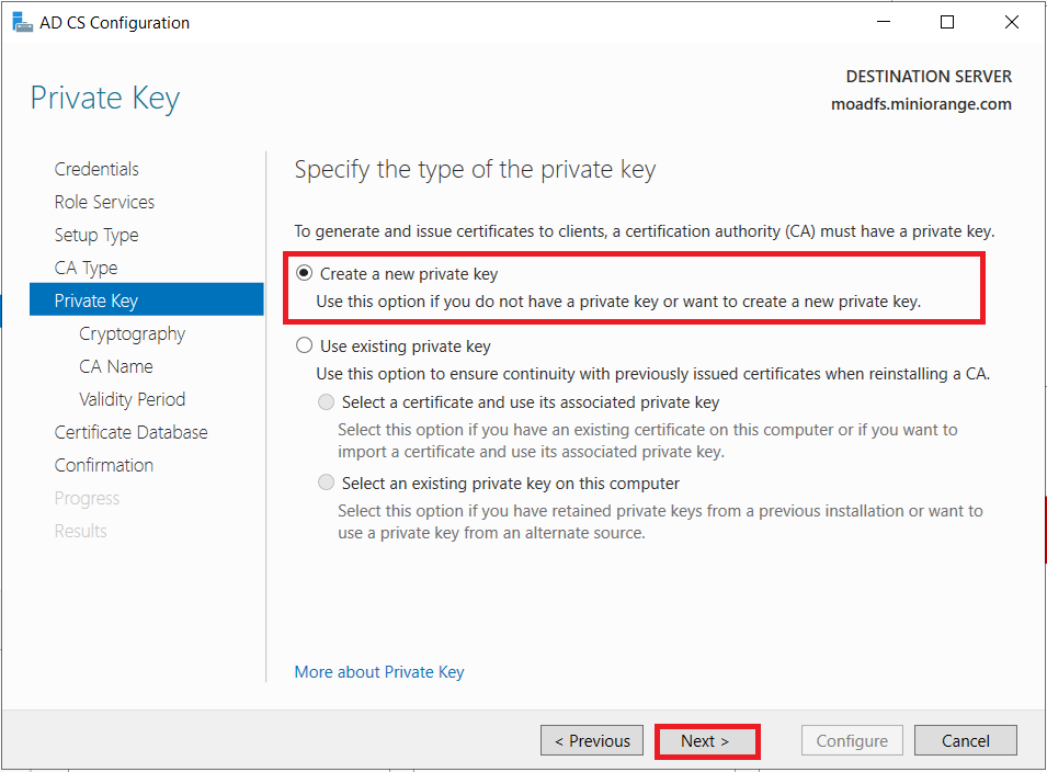 LDAPS on Windows Server dont export private key