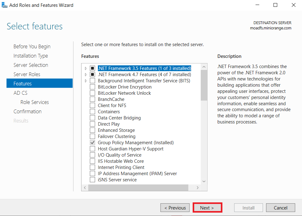 LDAPS on Windows Server select feature