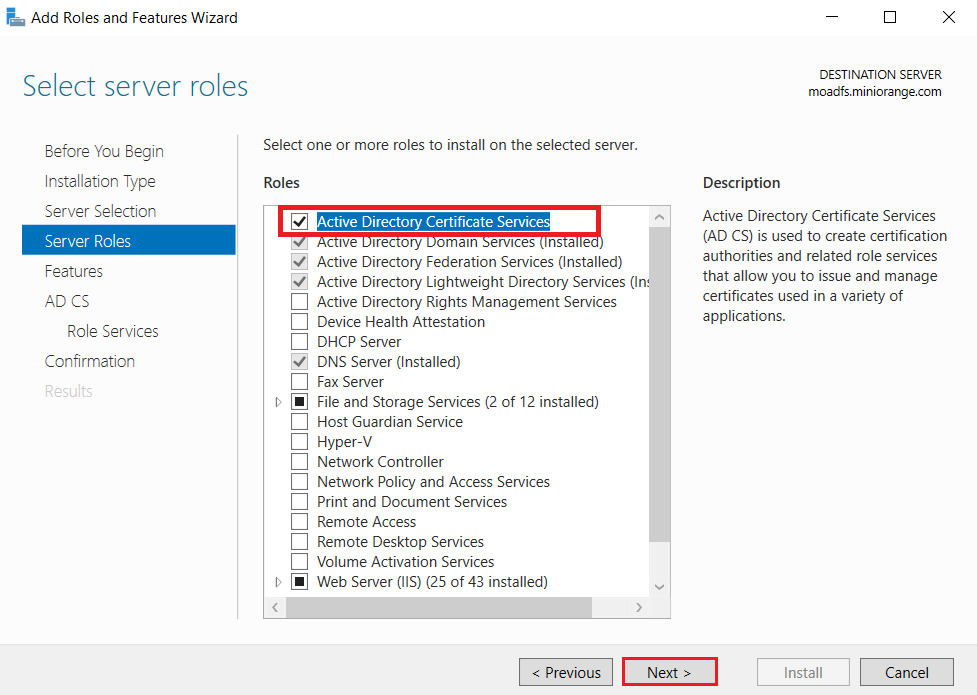 LDAPS on Windows Server select roles