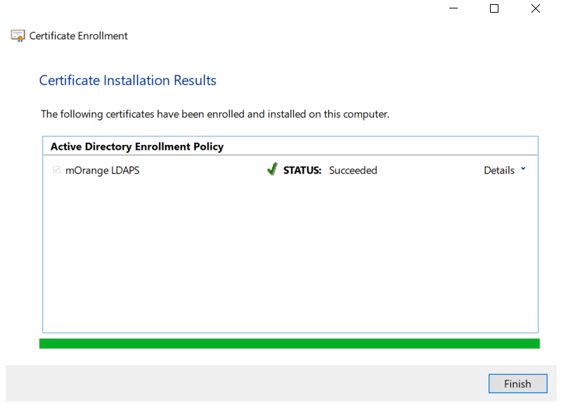LDAPS on Windows Server enroll certificate successfully