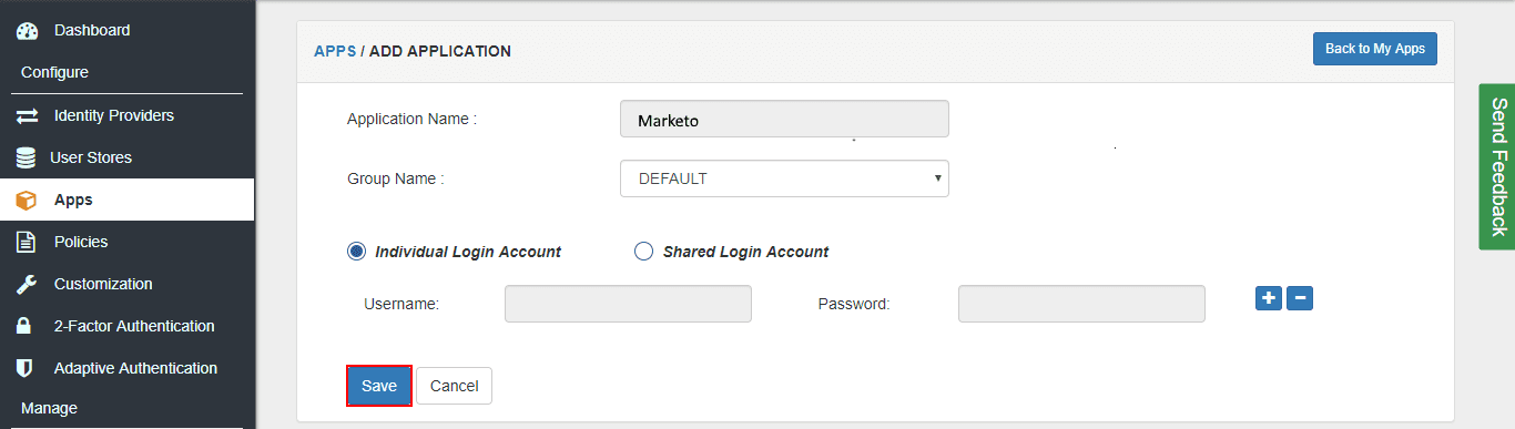 Marketo Single Sign On (sso) application name