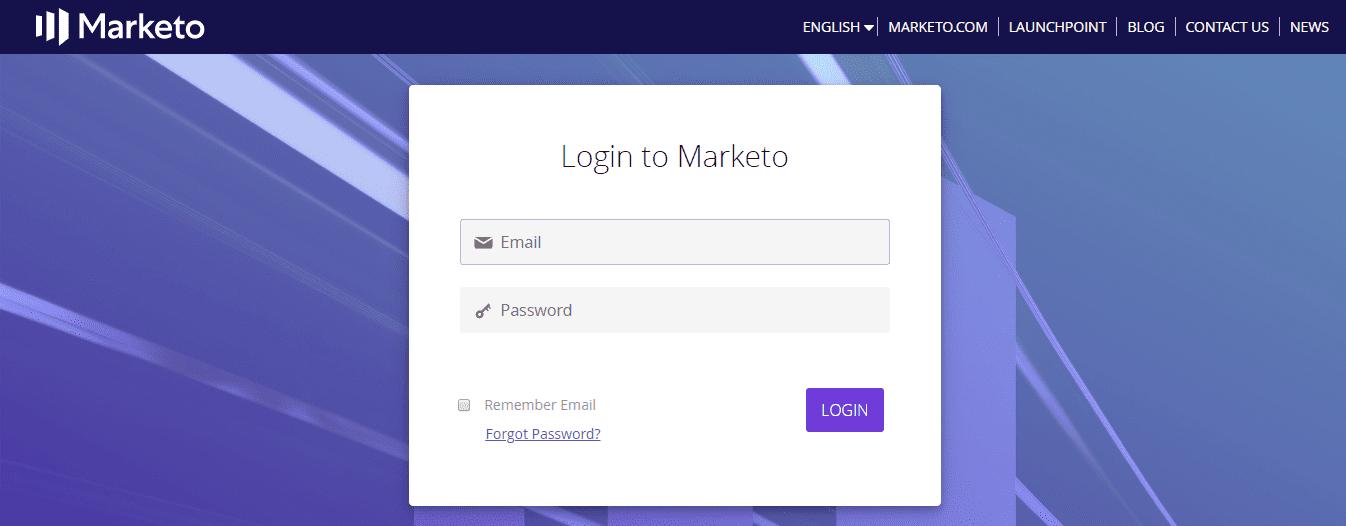 Marketo Single Sign On (sso) user login page