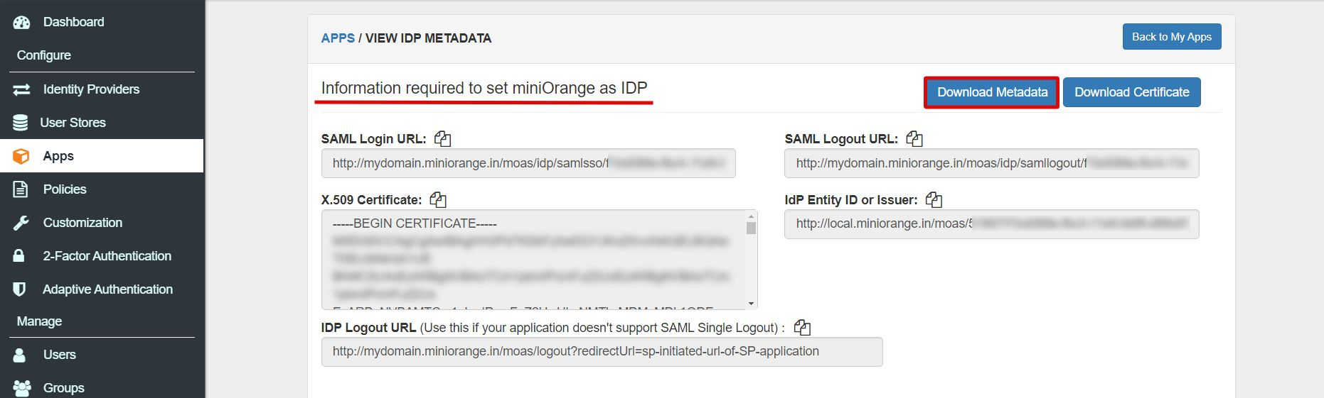 Moodle Single Sign On (SSO) Moodle Login idp_metadata