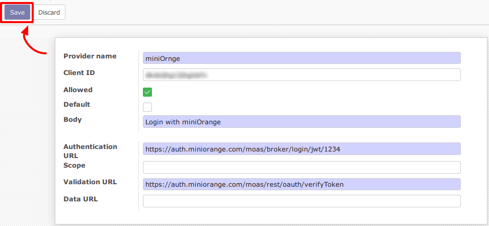 Odoo Single Sign On (sso) configure oauth module settings