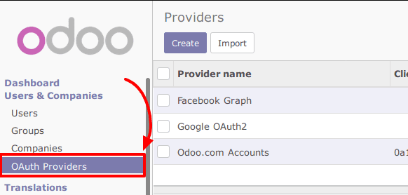 Odoo Single Sign On (sso) oauth settings in odoo