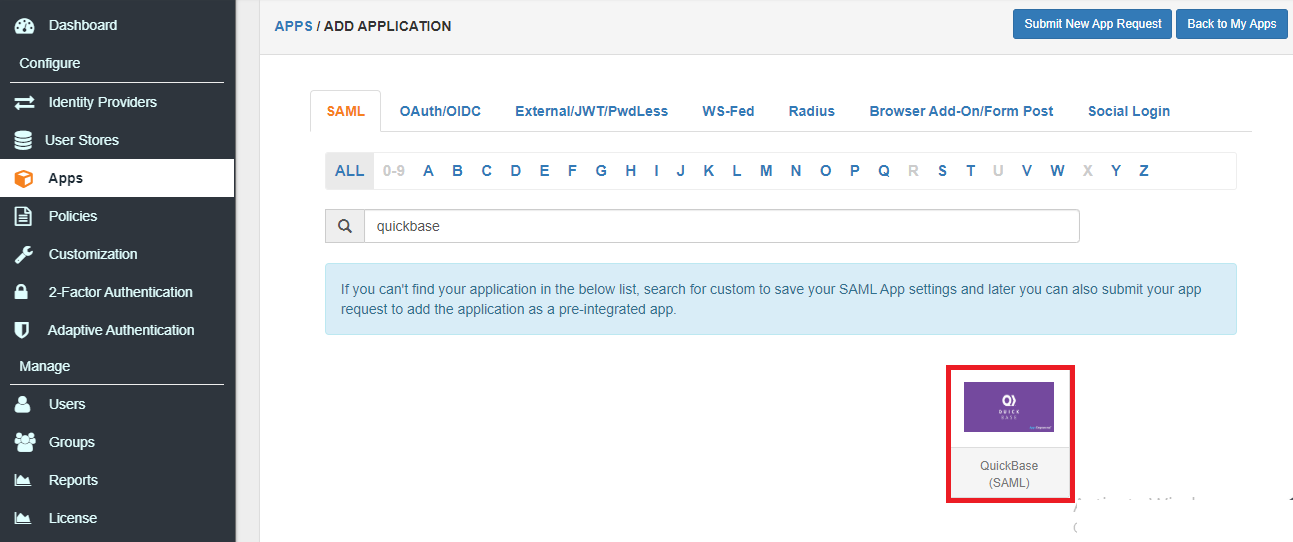 Single Sign On (sso) add QuickBase app