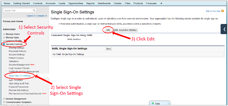 salesforce saml  sso settings