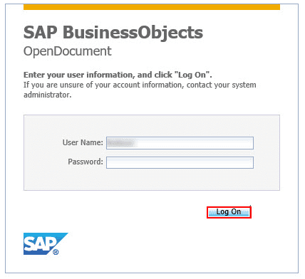SAP Business Objects Single Sign-On (sso) user login page