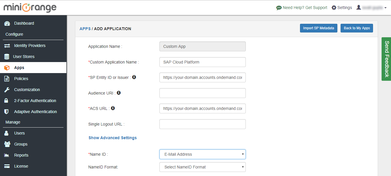 sap cloud platform add application