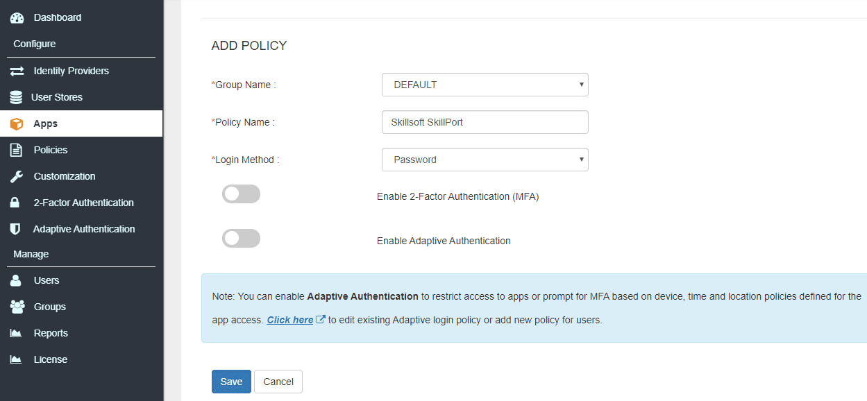 Skillsoft Single Sign On (sso) add policy