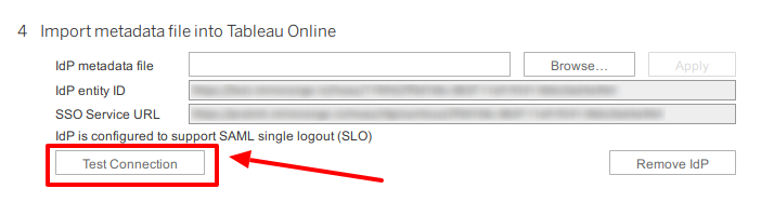 Tableau Single Sign-On (SSO): Test Connection