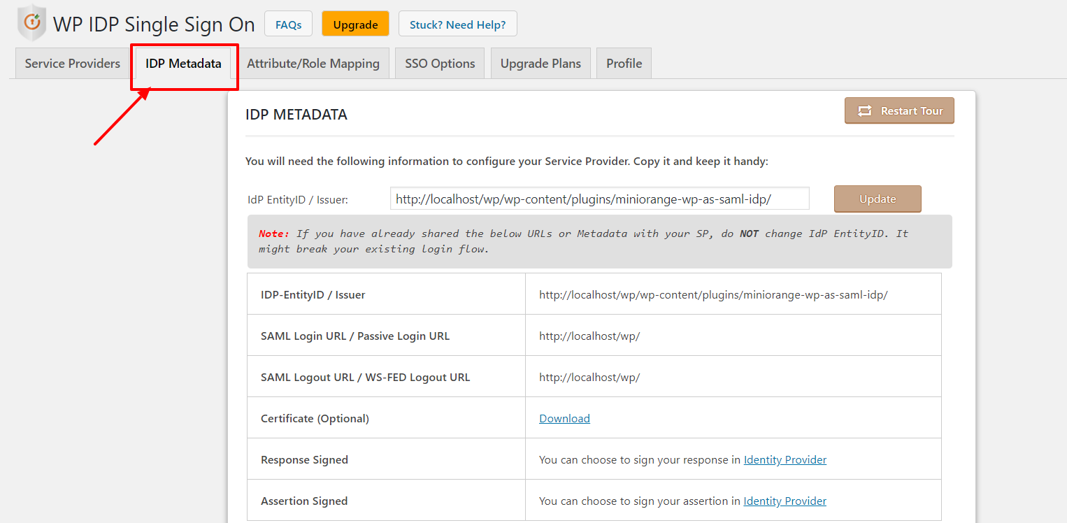 Tableau Single Sign-On (SSO):import_idp_metadata