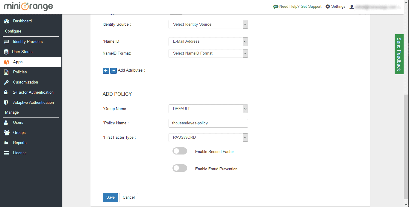 ThousandEyes Single Sign On (sso) add policy