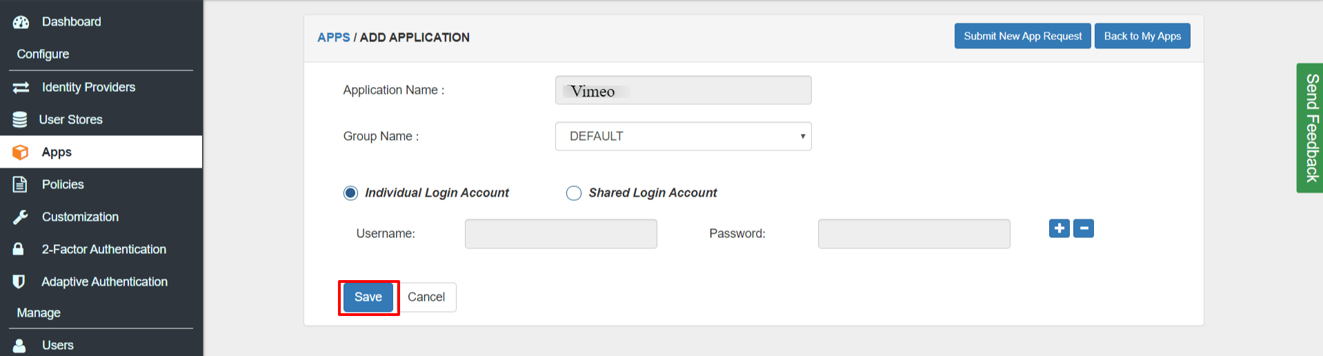 Vimeo Single Sign On SSO saml policy